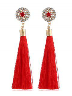Sparkly Rhinestone Long Tassel Elegant Earrings - Rojo