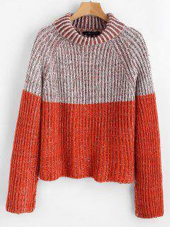 Color Block Turtleneck Jumper Sweater - Multi M