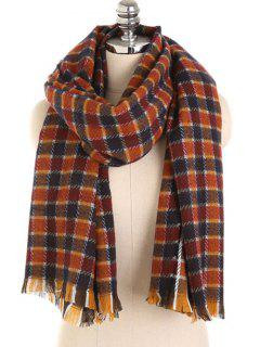 Checked Pattern Fringed Winter Scarf - Blood Red