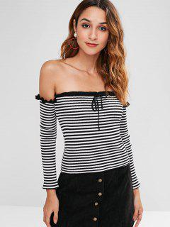 Off Shoulder Ruffles Striped Knitwear - Black