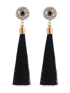 Sparkly Rhinestone Long Tassel Elegant Earrings - Black