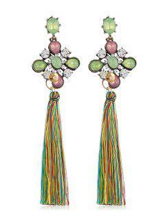 Pendientes De Gota Borla Larga Florales De Diamantes De Imitación - Multicolor