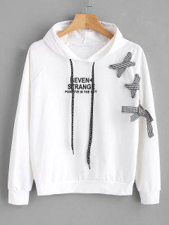 Raglan Sleeve Lace Up Letter Hoodie - White