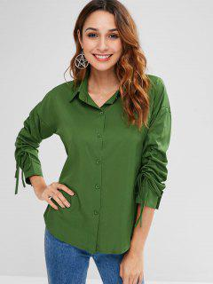 Candy Color Drawstring Sleeve Shirt - Pine Green Xl