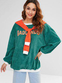 Letter Drop Shoulder Corduroy Sweatshirt - Greenish Blue