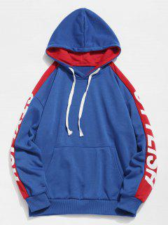 Side Stylish Letter Pocket Hoodie - Blue Xl