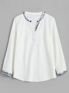 Embroidered Trim V Neck Blouse - White M