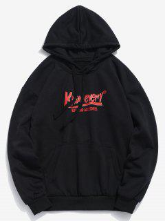 Letter Graphic Pouch Pocket Hoodie - Black M