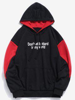 Slogan Print Contrast Hoodie - Black 2xl
