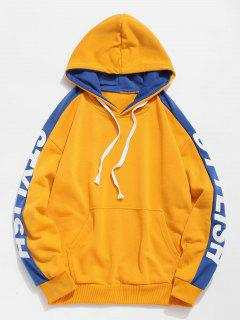 Side Stylish Letter Pocket Hoodie - Yellow Xl