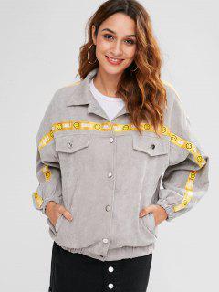 Pocket Drop Shoulder Letter Jacket - Dark Gray M