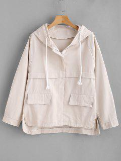 Pocket High Low Hooded Jacket - Beige