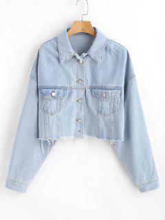 Frayed Crop Denim Jacket - Light Sky Blue L