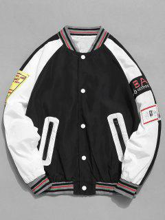 Contrast Patch Baseball Jacket - Black Xs