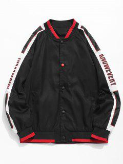 Side Letter Striped Baseball Jacket - Black M