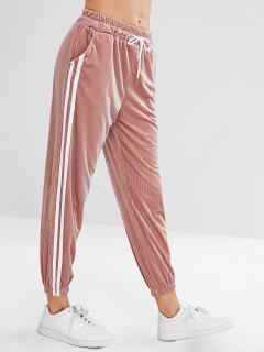 Side Striped Drawstring Jogger Pants - Lipstick Pink M