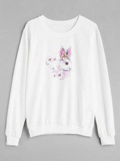 Sweat-Shirt Lapin Imprimé Avec Fausse Perle - Blanc