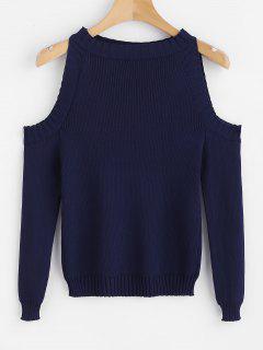 Cold Shoulder Slim Knit Sweater - Midnight Blue