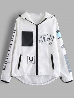 Hooded Zip Up Printed Jacket - White M