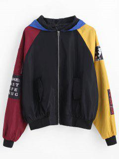 Hooded Color Block Zip Jacket - Black