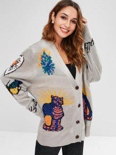 Abstract Pattern Design Buttoned Cardigan - Multi