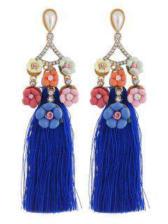 Pendientes De Borla Larga De Diamantes De Imitación Florales - Azul