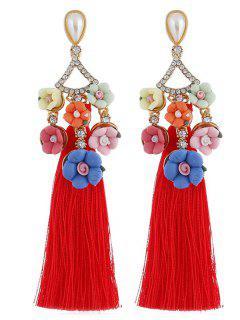 Floral Rhinestone Long Tassel Earrings - Red
