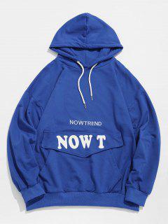 Stylish Pocket Patchwork Letter Hoodie - Blue 2xl