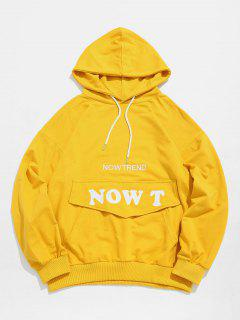 Stylish Pocket Patchwork Letter Hoodie - Yellow S