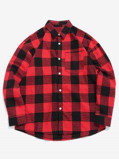 Chemise à Carreaux Motif De Vague Avec Poche Poitrine - Châtaigne Rouge M