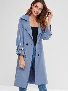 Raglan Sleeve Belted Pocket Trench Coat - Silk Blue Xl