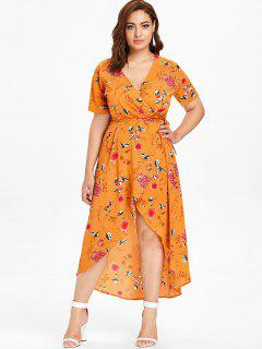 Plus Size Floral Print High Low Maxi Wrap Dress - Mustard 1x