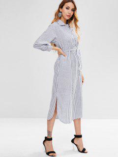 Striped Belted Side Slit Dress - Multi S
