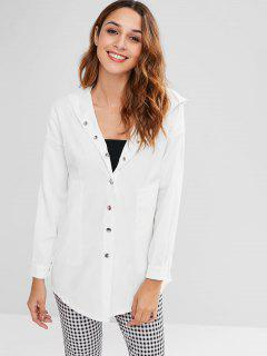 High Low Drop Shoulder Longline Coat - White