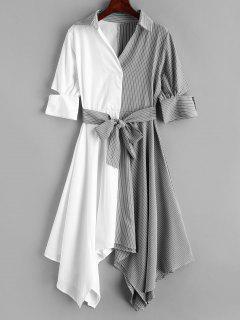 Striped Belted Handkerchief Dress - Multi L