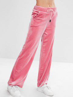 Velvet Drawstring Straight Pants - Pink L