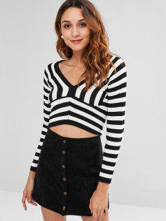 V Neck Striped Crop Tee - Black