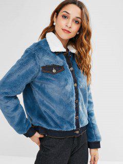 Button Up Faux Fur Coat - Silk Blue M