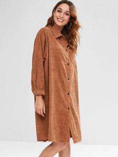 Drop Shoulder Pocket Longline Corduroy Coat - Light Brown Xl