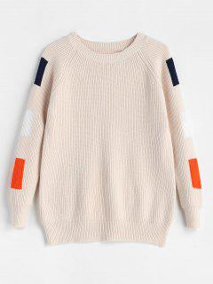 Color Block Crew Neck Knit Sweater - Apricot