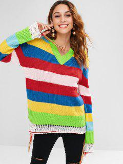 Colorful Striped Tassel Sweater - Multi