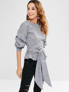 Geraffte Ärmel Plaid Wrap Bluse - Grau M