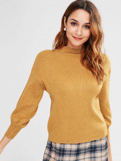High Neck Sweater With Drop Shoulder - Orange Gold