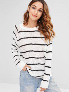 Side Zip Color Block Knitwear - White S