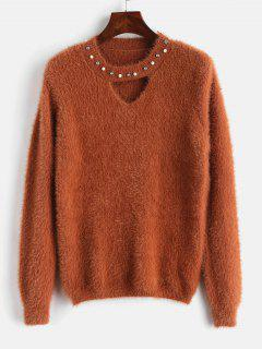 Keyhole Rhinestone Embellished Furry Sweater - Orange Salmon