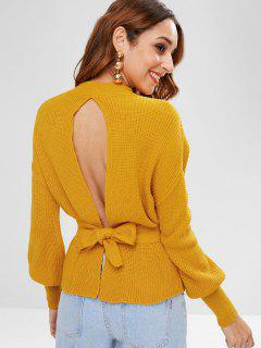 Lantern Sleeves Back Slit Belted Sweater - Bee Yellow M