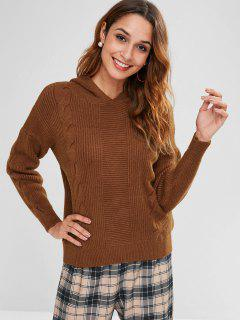 Hooded Cable Knit Jumper Sweater - Sepia