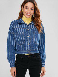 Striped Denim Jacket With Pockets - Blue