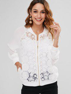 Floral Embroidered Mesh Chiffon Bomber Jacket - White L