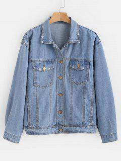 Distressed Pocket Denim Jacket - Jeans Blue